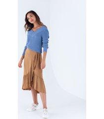 falda midi para mujer beige estilo pareo