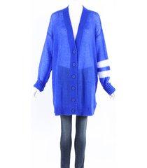 maison martin margiela maison margiela blue mohair knit varsity cardigan sweater blue/white sz: s