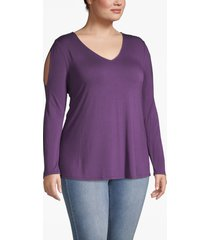 lane bryant women's cold-shoulder long-sleeve tee 22/24 indigo