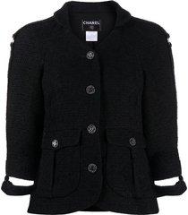 chanel pre-owned 2008 cut-off cuffs tweed jacket - black