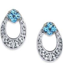 2028 silver tone light crystal oval stud earring