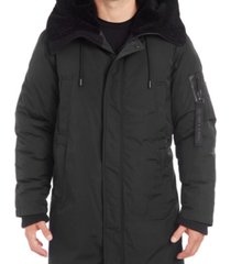 vince camuto men's long parka with faux fur lined hood