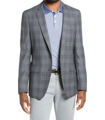 men's boss hartlay slim fit plaid wool sport coat, size 42 long - blue