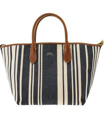 ralph lauren canvas striped medium bellport tote