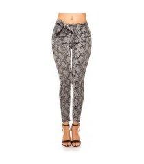 trendy loose fit broek met lus slangen-print