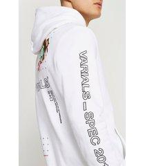 river island mens white varials rose graphic hoodie