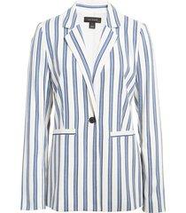 women's halogen stripe cinch sleeve blazer, size x-large - ivory