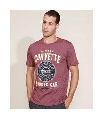 "camiseta masculina corvette sport"" manga curta gola careca vinho"""