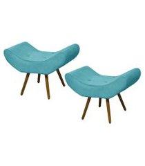 kit 02 puffs banqueta emília em suede liso azul turquesa - ds móveis