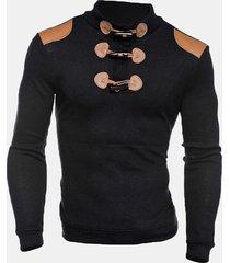 uomo casual maglione autunnale invernale con bottoni di corno in patchwork in maglia con collo a listino