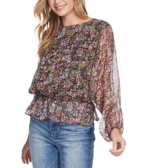 1.state forest gardens fitted-waist sheer-sleeve top