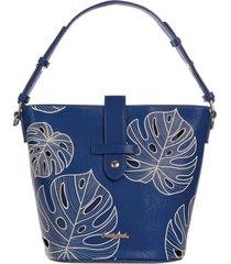 bolsa hobo desigual bordada azul - kanui