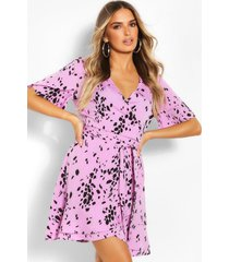 smudge print wrap tea dress, purple