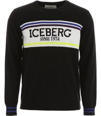 iceberg pullover with logo intarsia