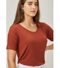 amaro feminino blusa básica u, cobre