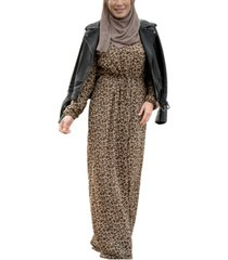 urban modesty women's leopard drawstring maxi dress