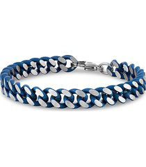 esquire men's jewelry men's two-tone blue ion-plated stainless steel curb link chain bracelet