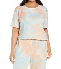 plus size women's bp. tie dye knit t-shirt, size 1x - blue
