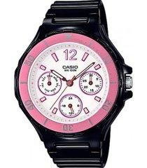 reloj analógico mujer casio lrw-250h-1a3 cronógrafo - negro con blanco