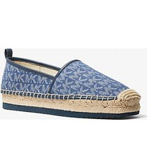 mk espadrilla slip-on lenny in jacquard con logo - denim/navy (blu) - michael kors
