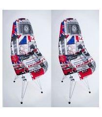kit com 02 capas para cadeira base madeira eiffel wood londres