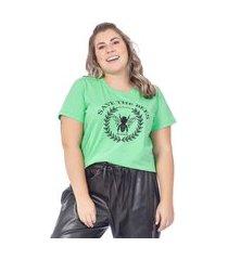 t-shirt feminina estampa de abelha - verde - xlg