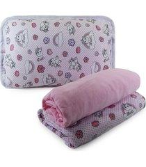 jogo de cama appel berã§o em malha 3 peã§as - unicã³rnio, - rosa - menina - dafiti