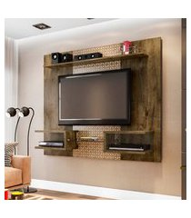 painel móveis bechara atlas para tv até 55 pol 2 nichos rústico 3d