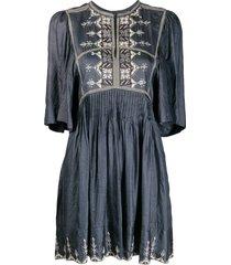 isabel marant étoile cross stitch dress - blue