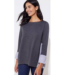 loft petite striped mixed media bell cuff sweatshirt