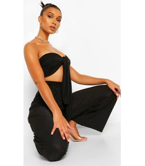 crop top met strik en wide leg broek set, black