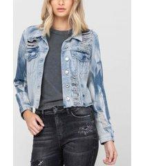 women's rigid classic crop blue tie dye denim jacket