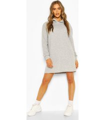 quilted hooded sweat dress, grey marl