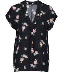 blouse flower zwart