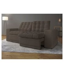 sofá 3 lugares net titan assento retrátil e reclinável marrom claro 2,00m (l)