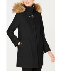 cole haan faux-fur-trim hooded coat