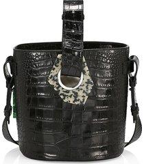 ganni women's croc-embossed leather bucket bag - black