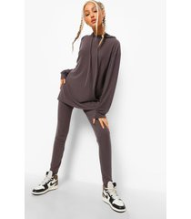 tall geribbelde lounge leggings, charcoal