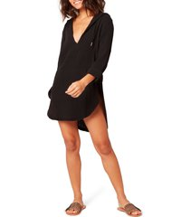 women's l space caswell long sleeve hooded seersucker cover-up, size large