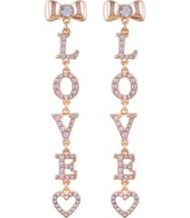 guess gold-tone crystal bow & heart love linear drop earrings