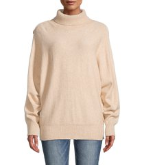 beach lunch lounge women's tenley button-sleeve mockneck sweater - oat - size xs