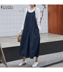 zanzea mujeres bib pantalones trajes de playsuit peto romper pierna ancha del mono -azul