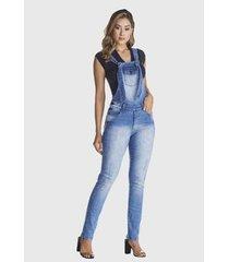 macacão jardineira hno jeans used azul - feminino