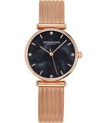 stuhrling women's rose gold mesh stainless steel bracelet watch 32mm