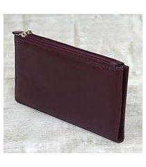 leather wallet, 'classic woman in maroon' (india)
