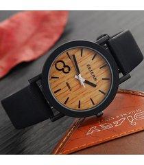 feifan la moda de nueva casual cuero color de la correa de madera de madera masculinos relojes caballero de pulsera relojes caballeroes de los hombres-negro