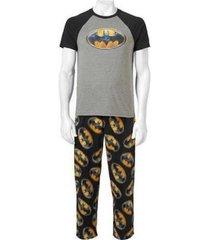 men's dc comics batman 2pc sleep pajama set t shirt & micro fleece pants medium