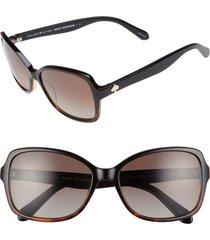 women's kate spade new york ayleen 56mm polarized sunglasses - black havana