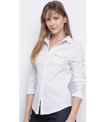 camisa social hc&m estampada manga longa feminina