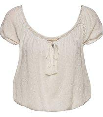 bardot boho crop blouse blouses short-sleeved creme superdry